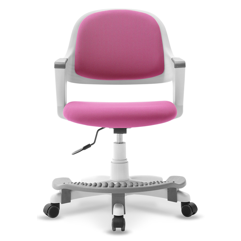 체어클럽 터치백 GOLD 화이트바디 발받침형 의자, 핑크