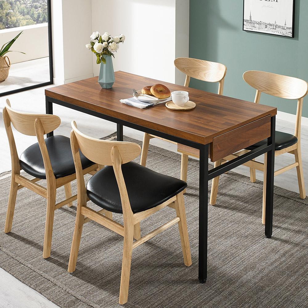 디홀릭 우드코디 LPM 4인 수저통 식탁 테이블, 멀바우