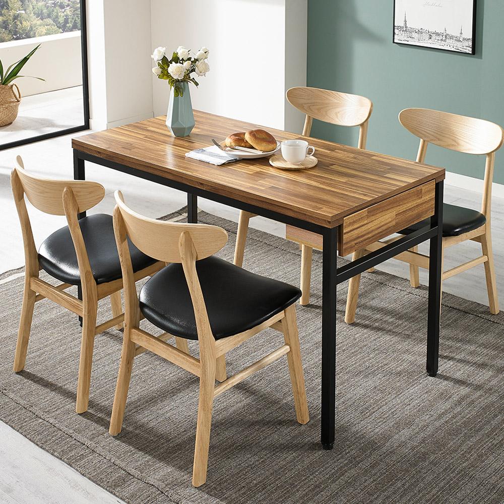 디홀릭 우드코디 LPM 4인 수저통 식탁 테이블, 아카시아