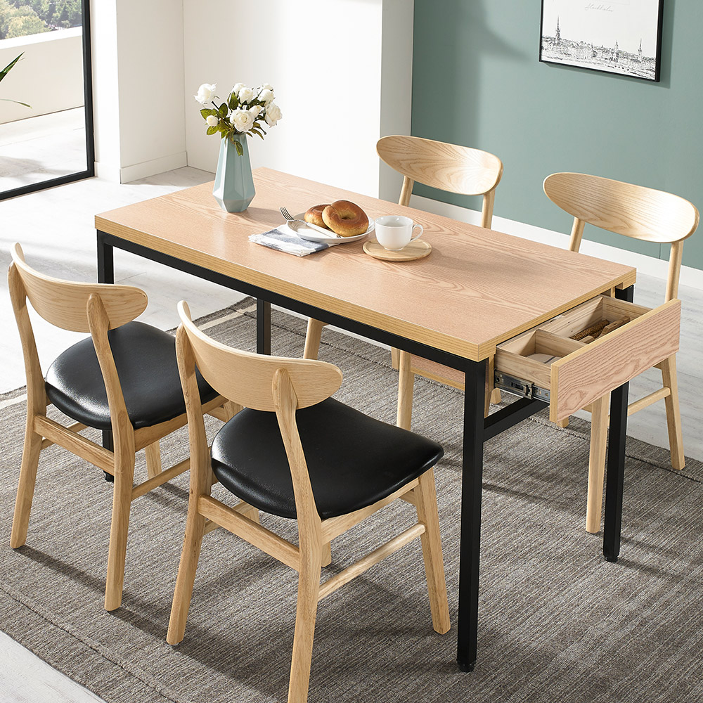 디홀릭 우드코디 LPM 4인 수저통 식탁 테이블, 상판 1200x600 에쉬+수저통