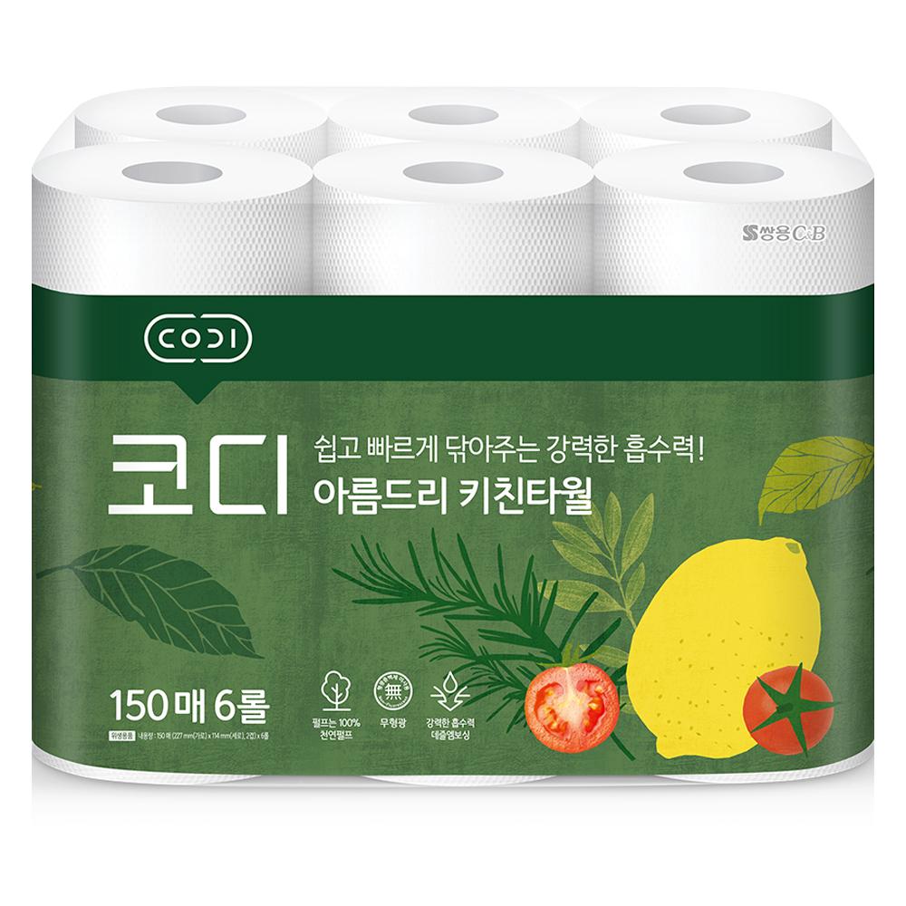 코디 아름드리 천연펄프 키친타올 150매, 6개입, 1개