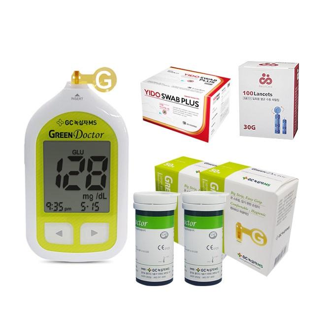 녹십자 그린닥터 혈당측정기+시험지100+침110+솜100 풀세트 혈당계, 1개