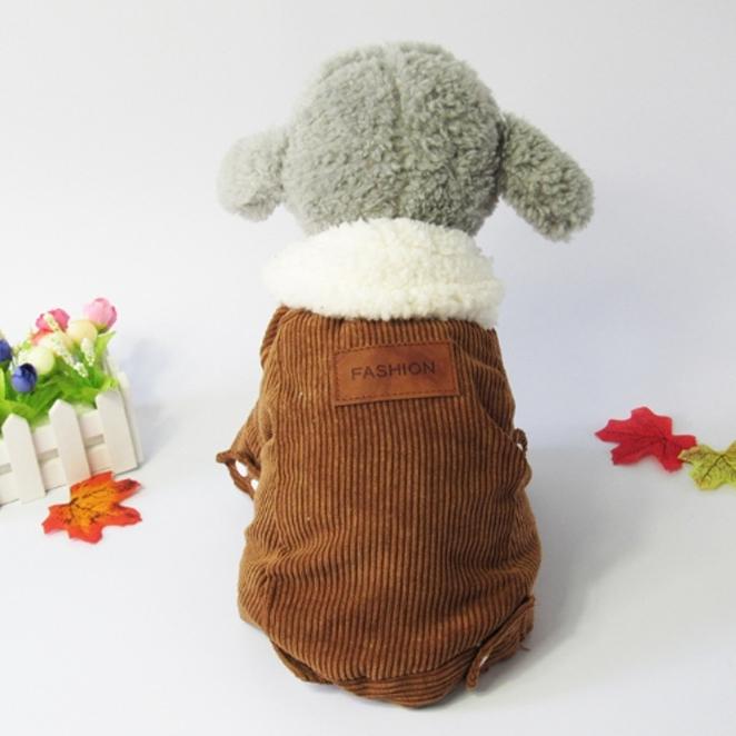 하라시코쿠키 겨울은 물러나거라 골덴스타일 강아지 아우터, 갈색
