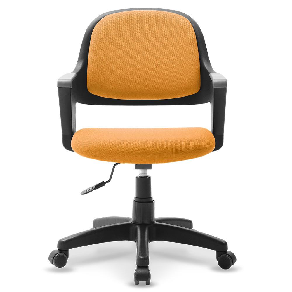 체어클럽 터치백 고급패브릭 블랙바디 의자, 오렌지