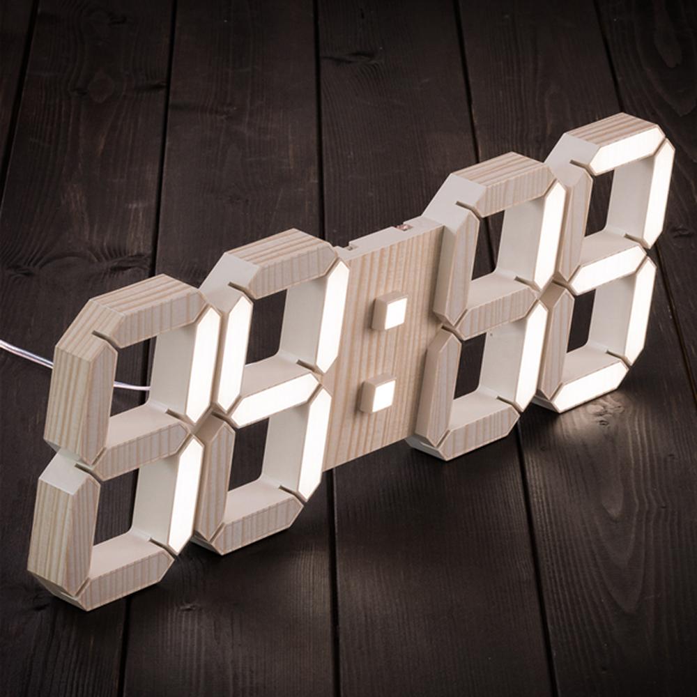 플라이토 3D LED 벽시계 38cm, 미송우드