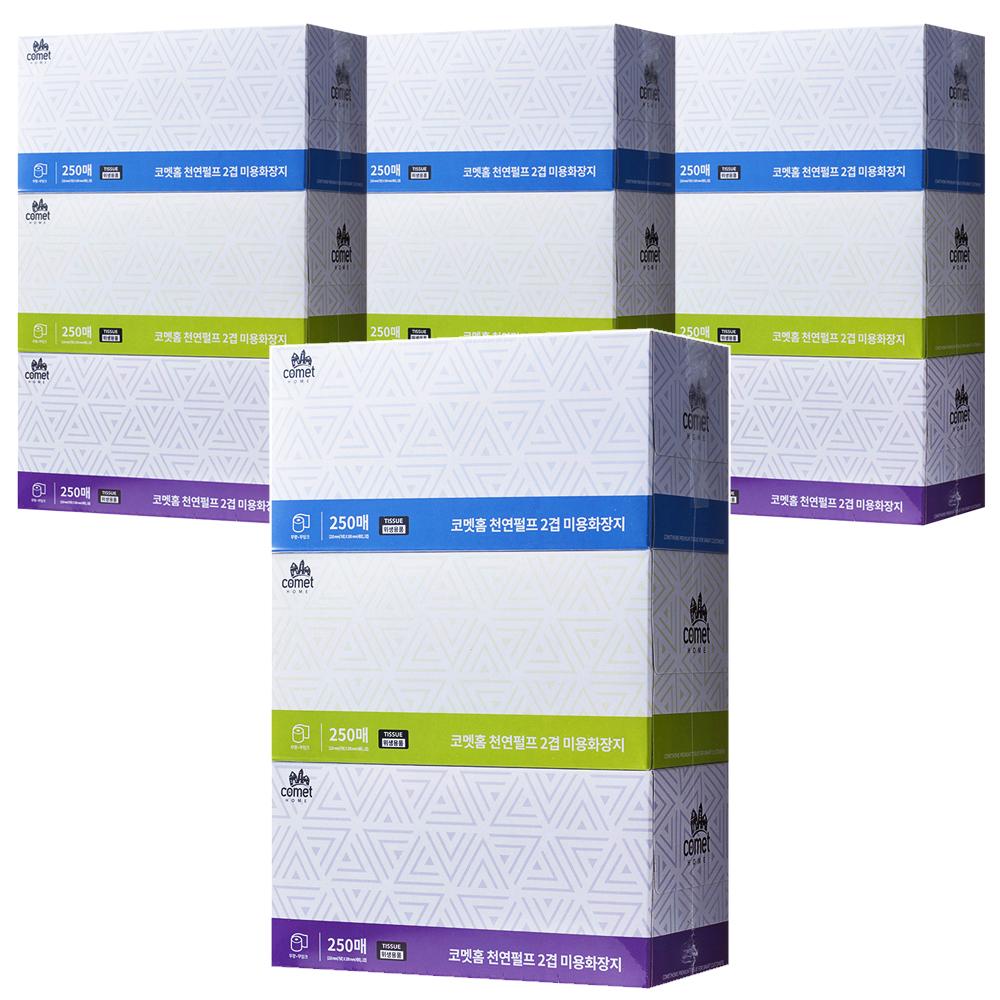 쿠팡 브랜드 - 코멧 홈 천연펄프 미용 각티슈 2겹, 250매, 3개입, 4팩