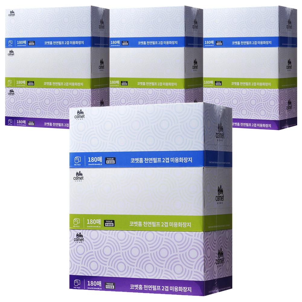쿠팡 브랜드 - 코멧 홈 천연펄프 미용 각티슈 180매 2겹, 3개입, 4팩