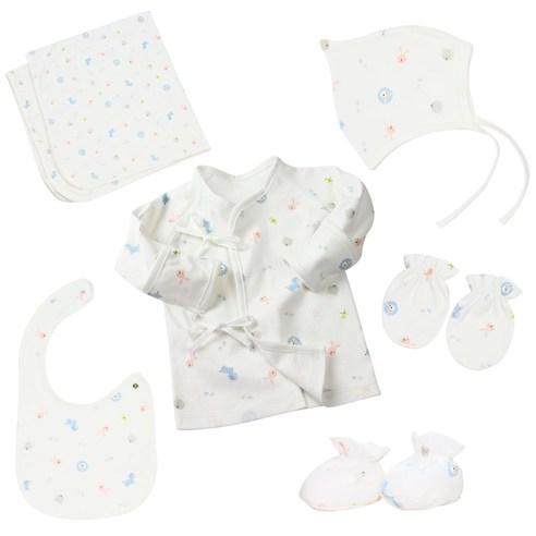 베이비아이콘 신생아 양면 배냇저고리 6종 출산선물세트