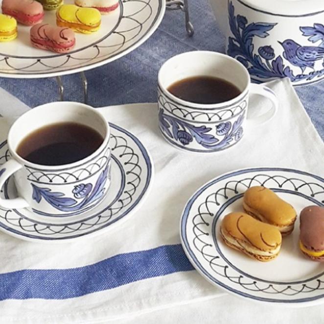 트위그뉴욕 블루버드 커피잔 2p + 커피받침 2p, 혼합 색상, 1세트
