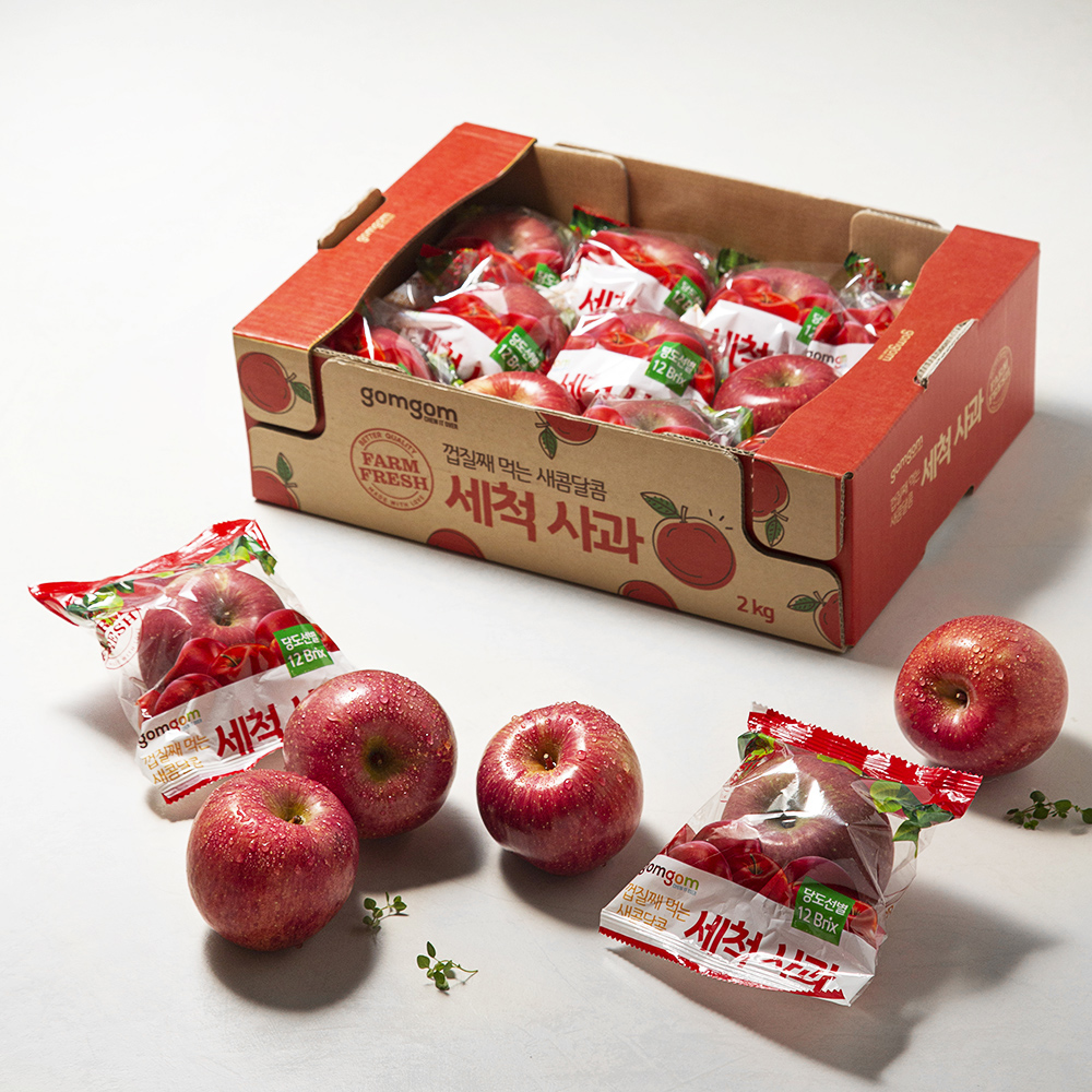 곰곰 당도선별 세척 햇사과, 2kg, 1박스