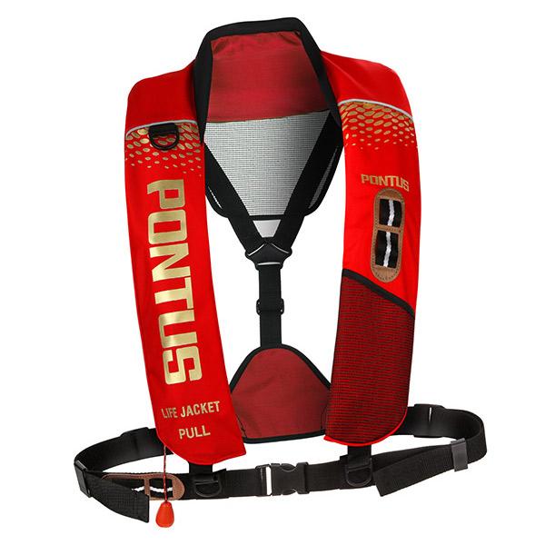 현대폰터스 CO2 자동 팽창식 레저 낚시 부력보조복, RED