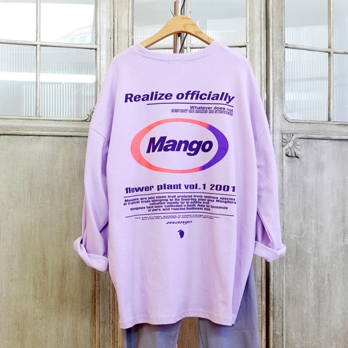 이힝 여성용 니체 레터링 프린팅 루즈핏 롱 긴팔 티셔츠