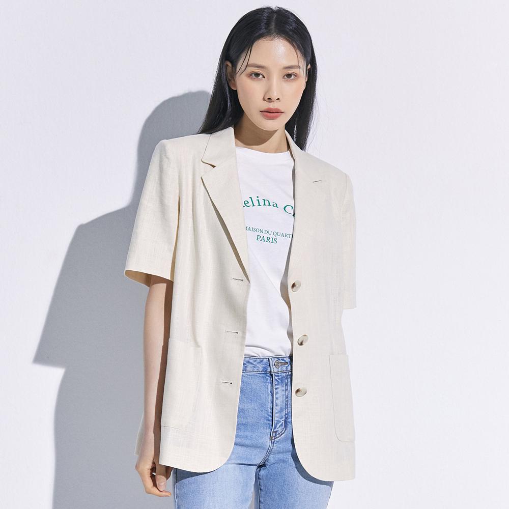 미쏘 여성용 테일러드 오버핏 싱글 반팔 재킷
