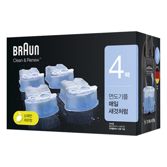 BRAUN 클린 앤 리뉴 면도기 세정액, CCR (4개입)