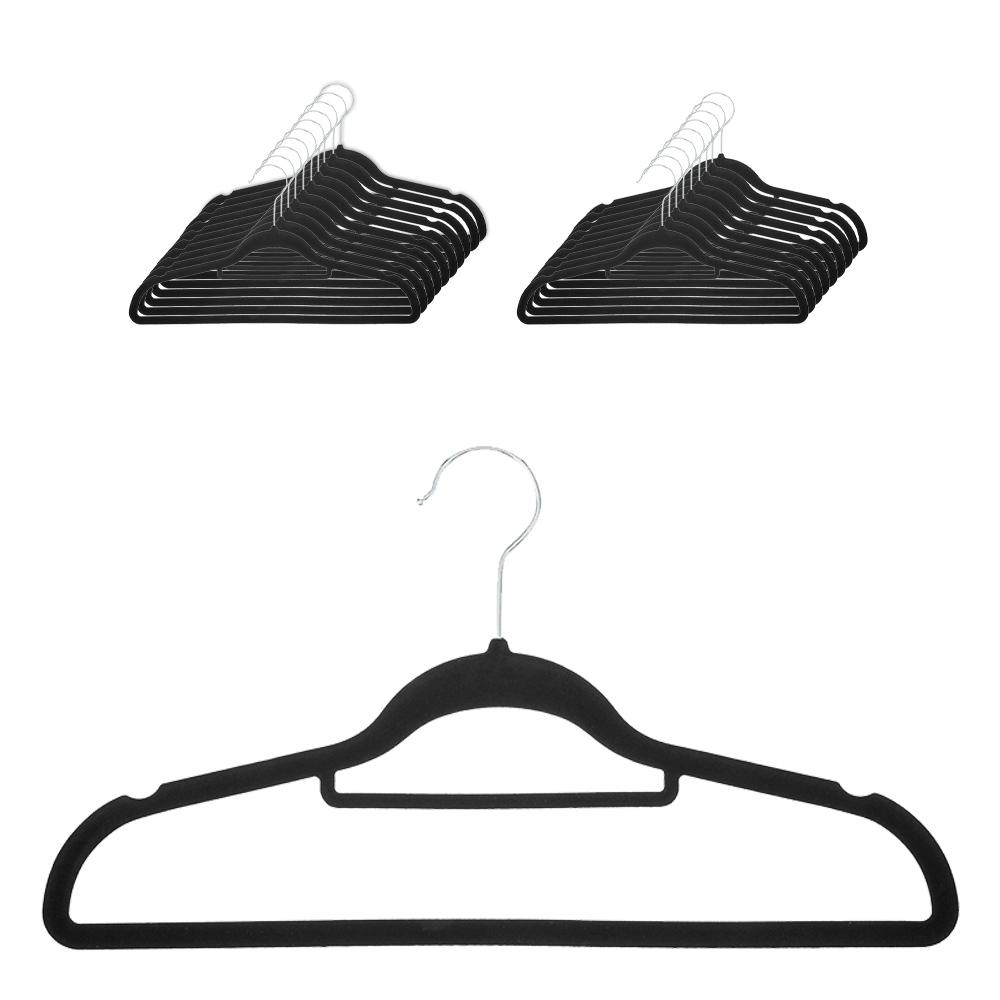 코멧 홈 벨벳 논슬립 옷걸이, 블랙, 20개입