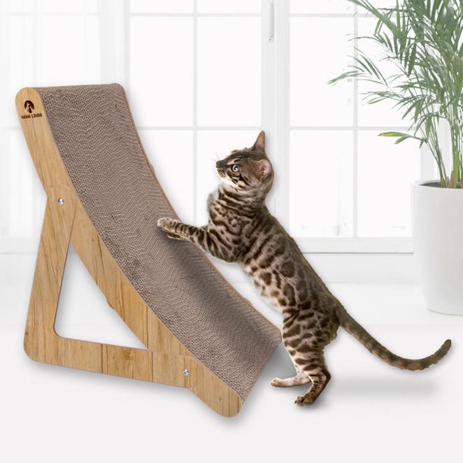 네네린도 우드 커브 고양이 스크래쳐, BROWN, 1개