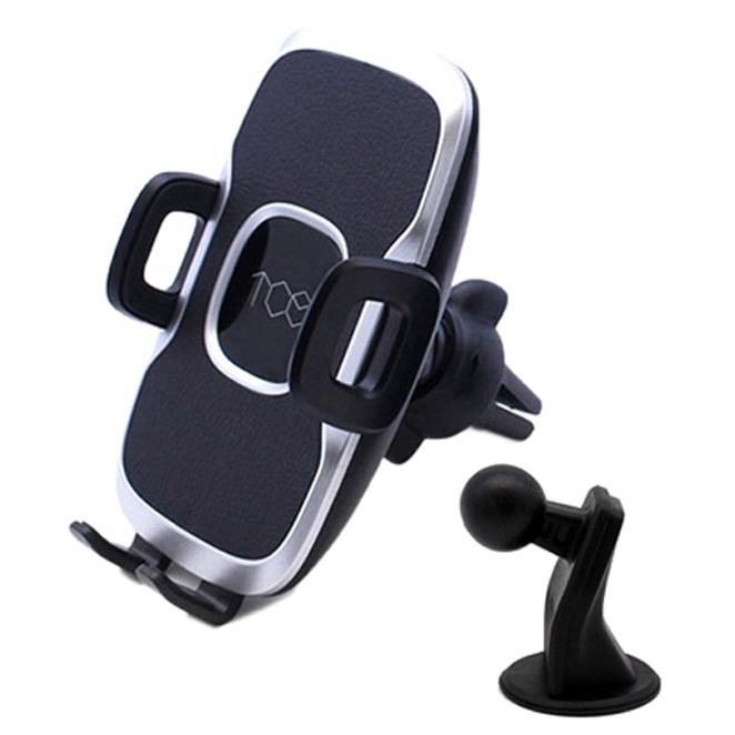 TCE 반자동 슬라이딩 차량용 거치대 송풍구 클립 + 스탠드 홀더, 1세트, Black + Silver