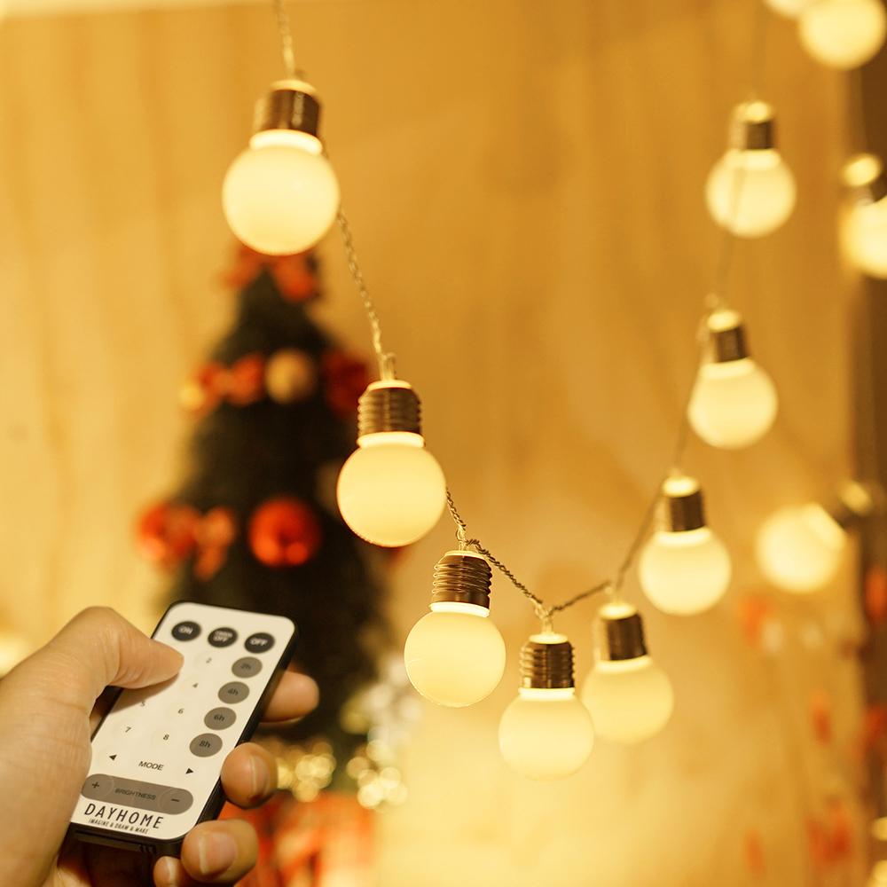 데이홈 더큰 LED 스마트 대형소켓 앵두전구 30구 + 수신기 케이블 + 전용 어답터 + 리모컨 + 건전지, 웜화이트, 1세트