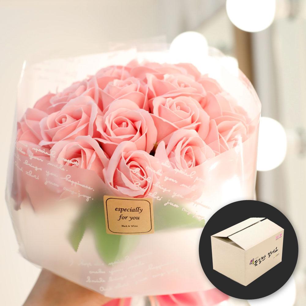 이플린 비누꽃 장미 누드 꽃다발 20송이 + 안전상자, 핑크