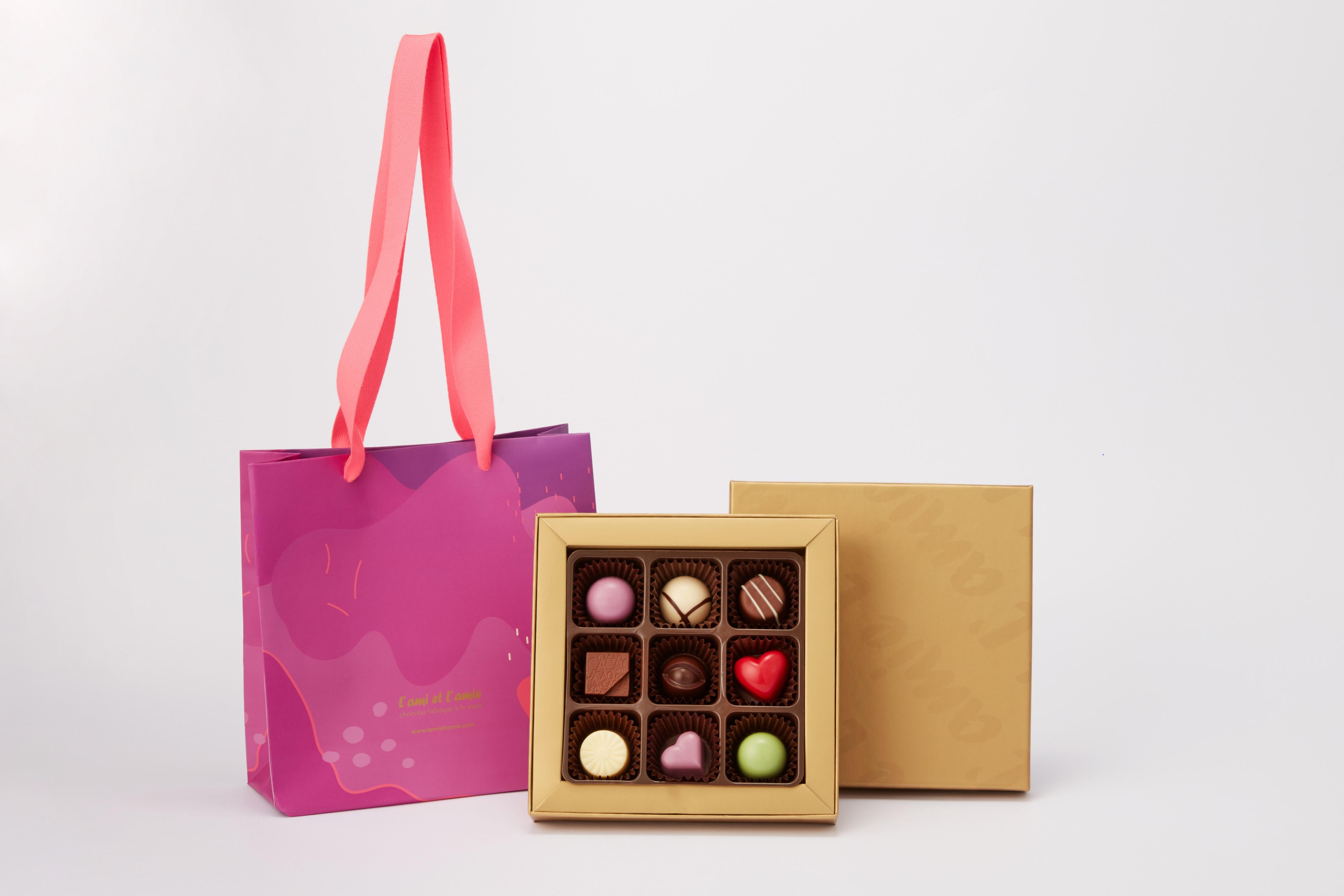 라미엣라미 로망스 수제 초콜릿 세트, 9p + 쇼핑백, 1세트