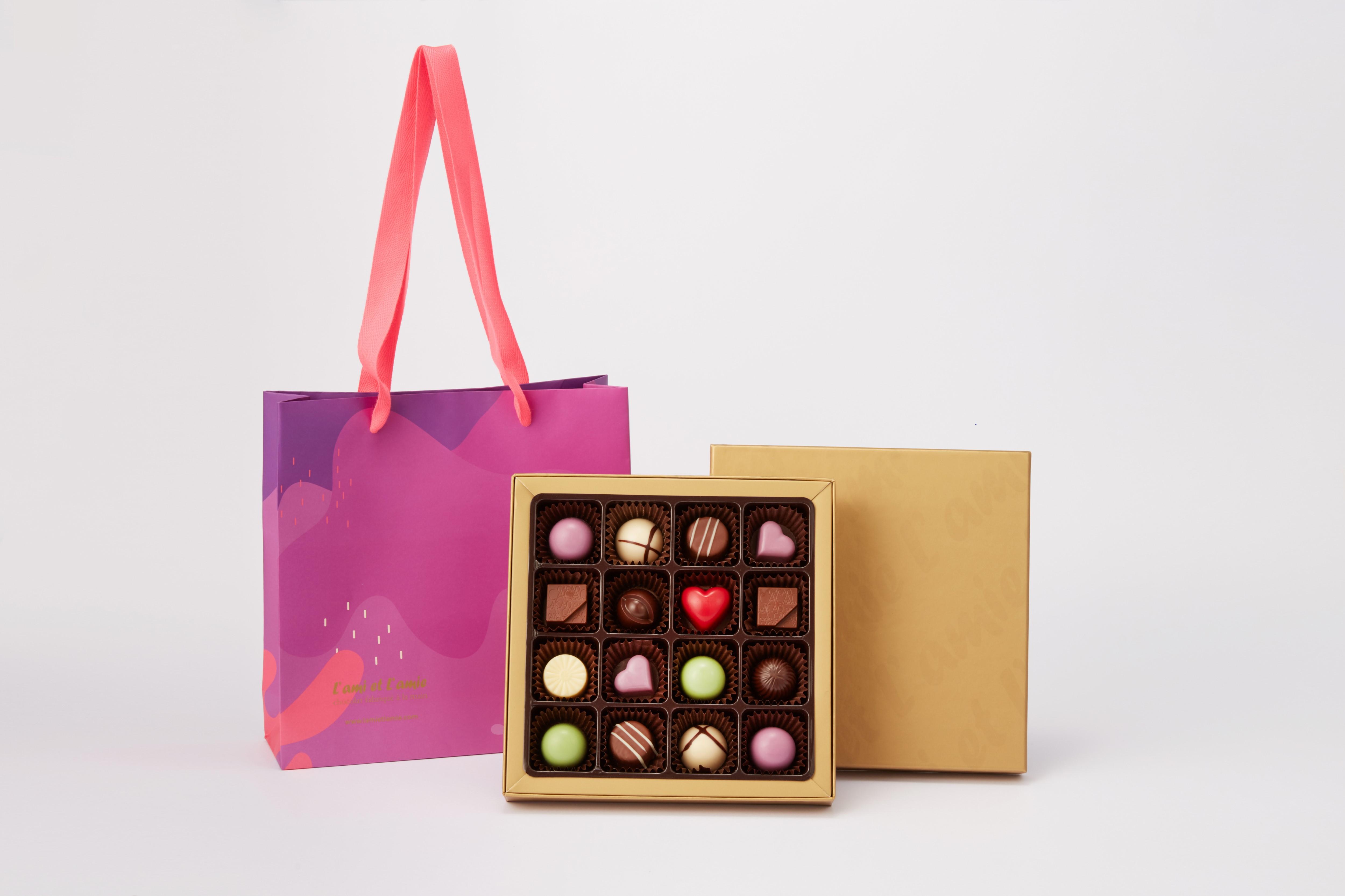 라미엣라미 Love Ensemble 수제 초콜릿 선물세트 16구 + 쇼핑백, 1세트