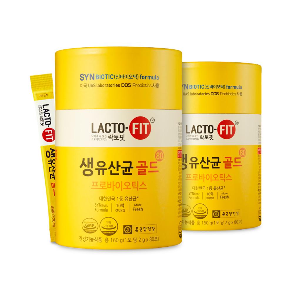 락토핏 생유산균 골드 80p, 160g, 2개입