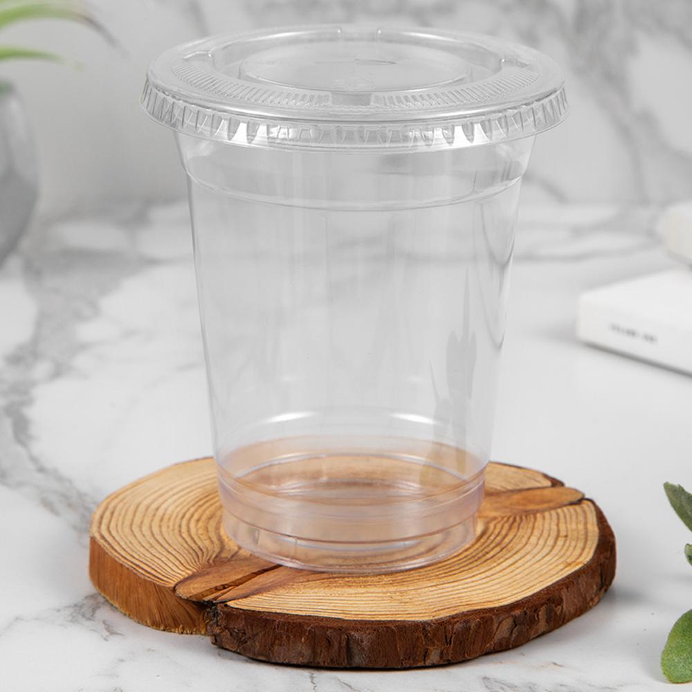 쿠팡 브랜드 - 탐사 투명 PET 아이스컵 + 평뚜껑, 410ml, 100개