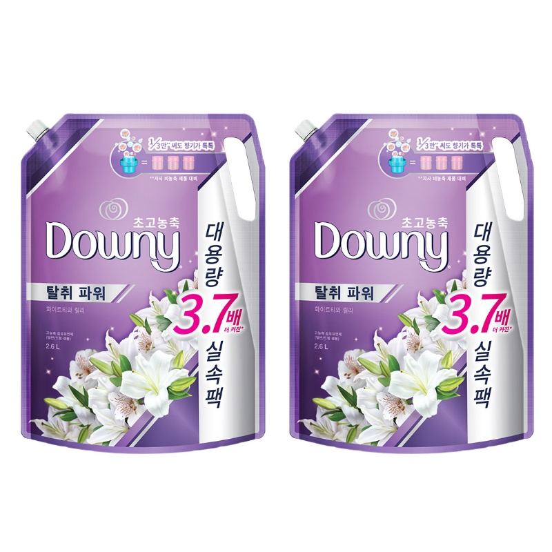 다우니 초고농축 섬유유연제 화이트티와 릴리 리필, 2.6L, 2개