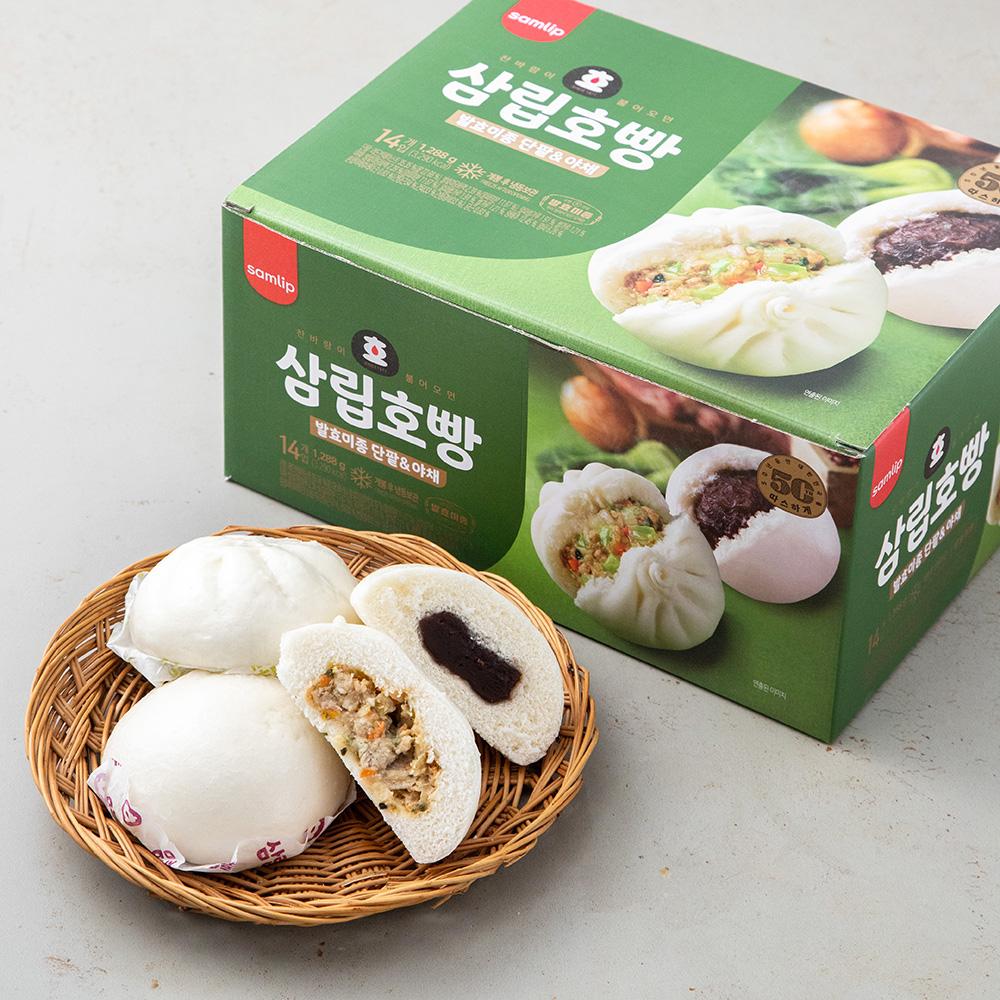 삼립 호빵 발효미종 단팥 7입 + 야채 7입, 1288g, 1세트