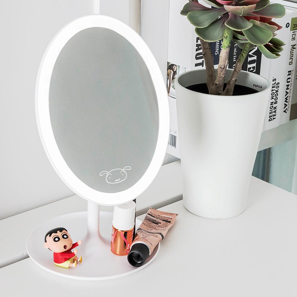 레토 짱구 피규어 무선 LED 메이크업 거울 CLM-B01, 혼합색상