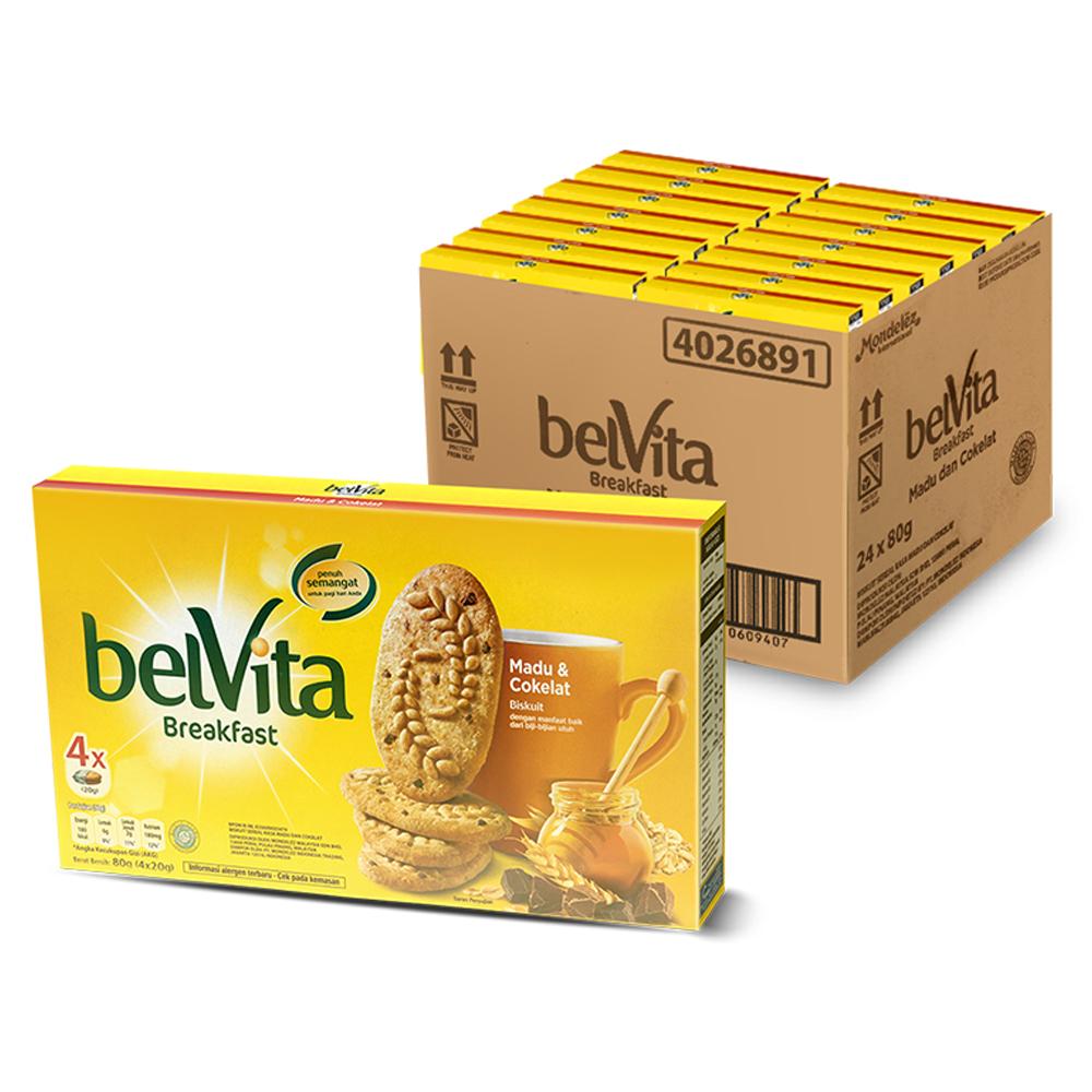 벨비타 허니 & 초콜렛맛 비스킷, 80g, 24개
