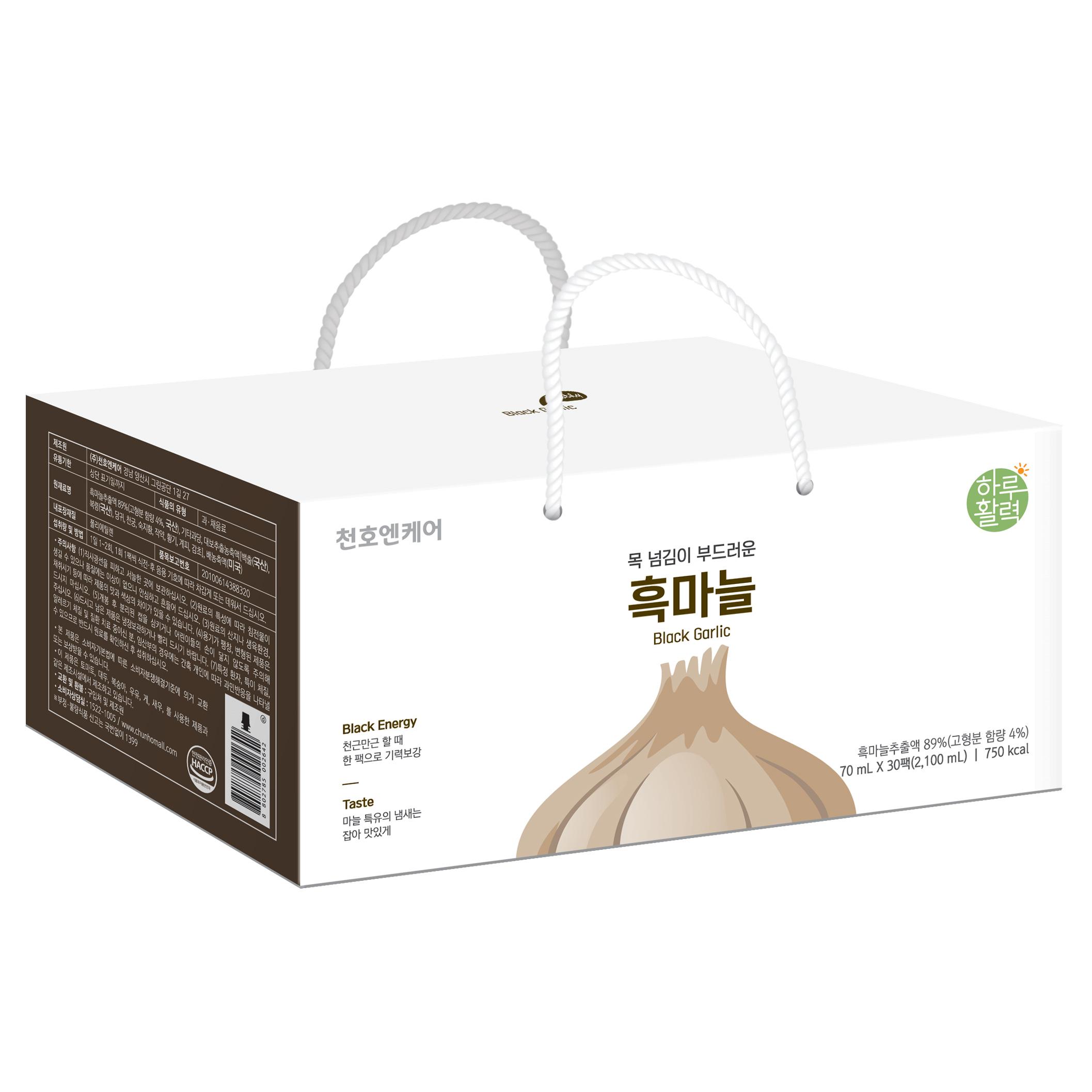 천호식품 하루활력 목 넘김이 부드러운 흑마늘  70ml  60팩천호엔케어 하루활력 답답한 날엔 도라지배즙  70ml  30개입