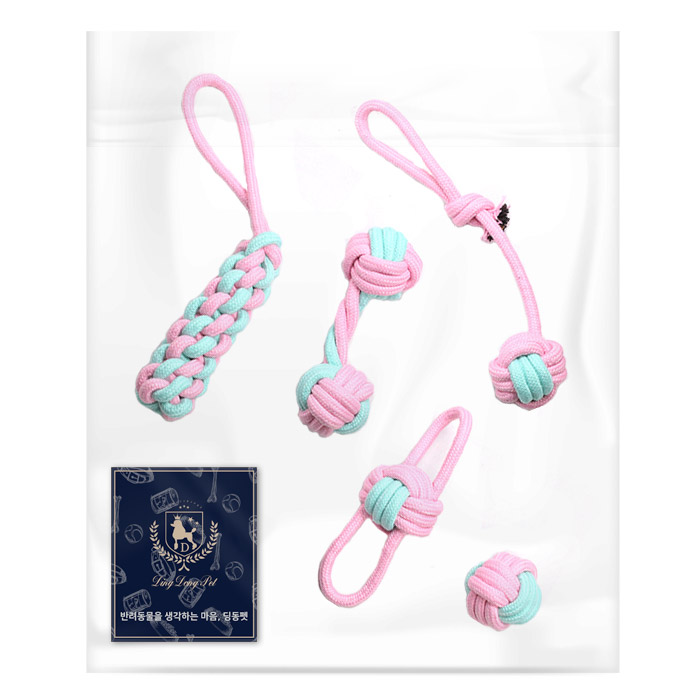 딩동펫 반려동물 로프 장난감 5종세트, 핑크, 1세트