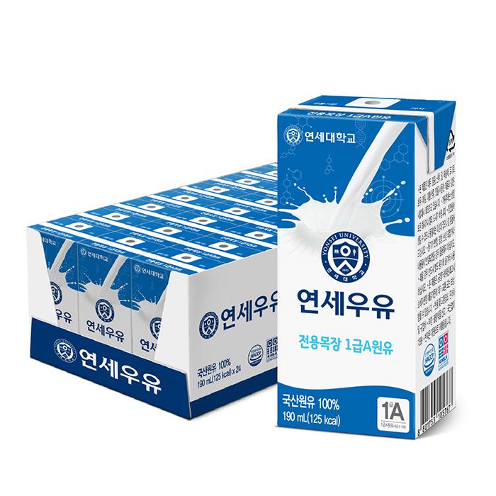 연세우유 멸균 흰우유, 190ml, 24팩