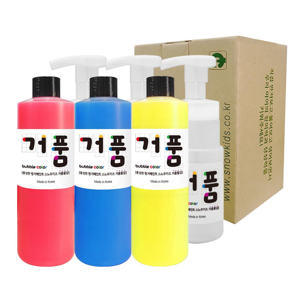 스노우키즈 핑거페인트 거품물감 A세트, 250ml, 3색