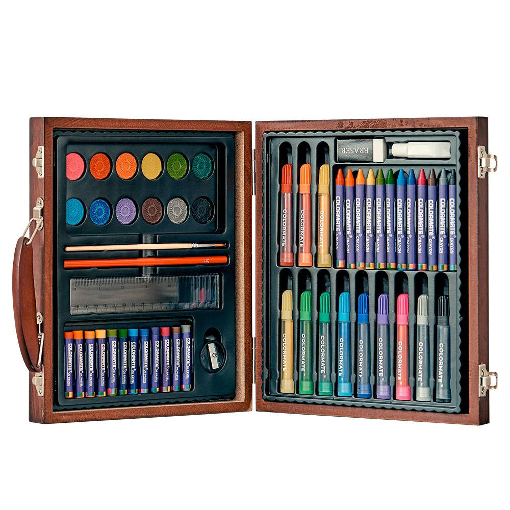 드림아트 미술세트 MS-66W 고급 2단 우드케이스, 혼합 색상, 1세트