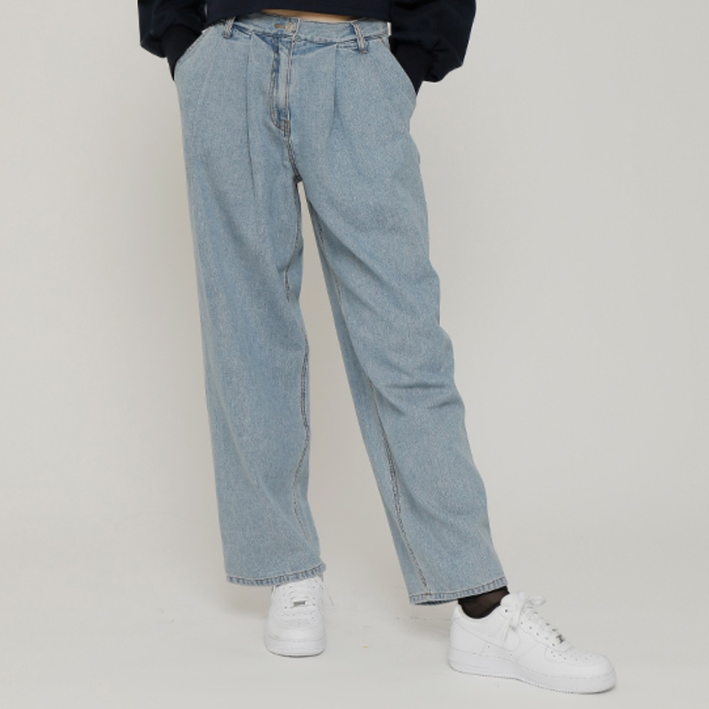 로켓런치 여성용 R TWO TUCK LOOSE FIT DENIM PANTS