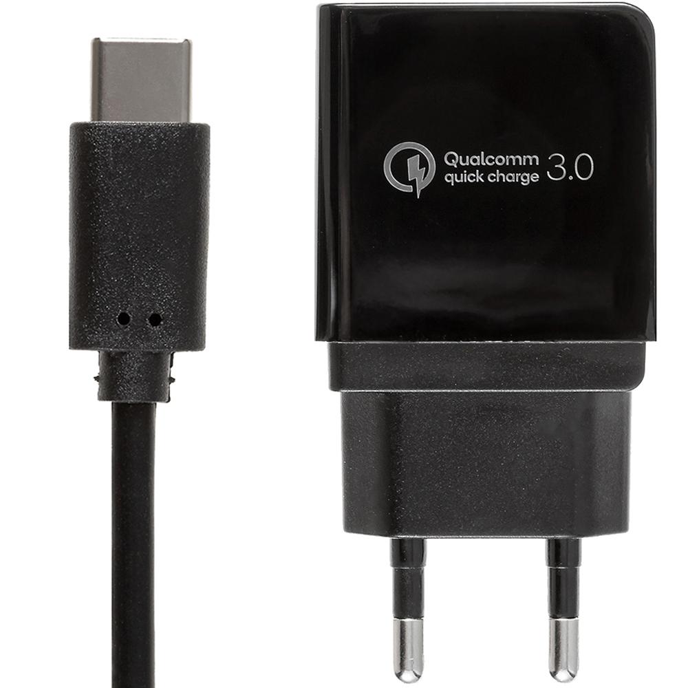 쿠팡 브랜드 - 퀄컴 공식인증 QC3.0 고속충전기 + C타입케이블 1.2m 세트, 블랙