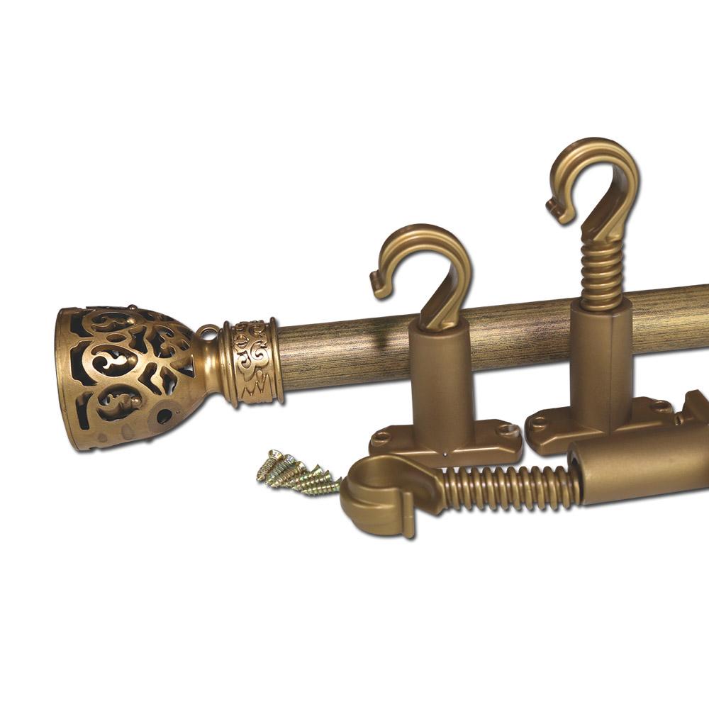 썬데코 25mm 커튼봉 빅장구 + 조절브라켓, 골드블랙