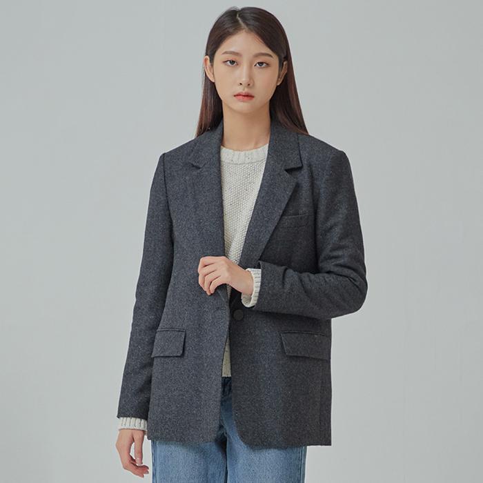 미쏘 여성용 패턴 일자핏 싱글 자켓