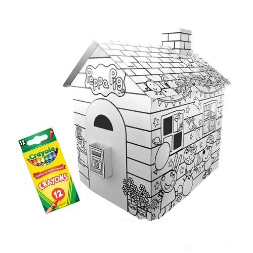 크레욜라 DIY 페파피그 페파의 종이집 + 크레용 12색, 혼합색상