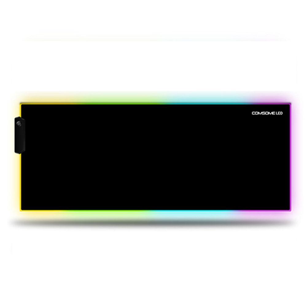 컴썸 RGB LED 게이밍 마우스 장패드, 혼합 색상, 1개-20-220762294