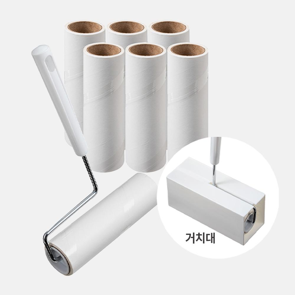 코멧 사선컷팅 테이프 크리너 핸들 + 거치대 세트, 리필 7개, 1세트