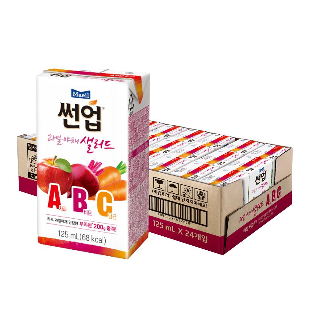 매일유업 썬업 과일야채 샐러드 ABC 주스, 125ml, 24개