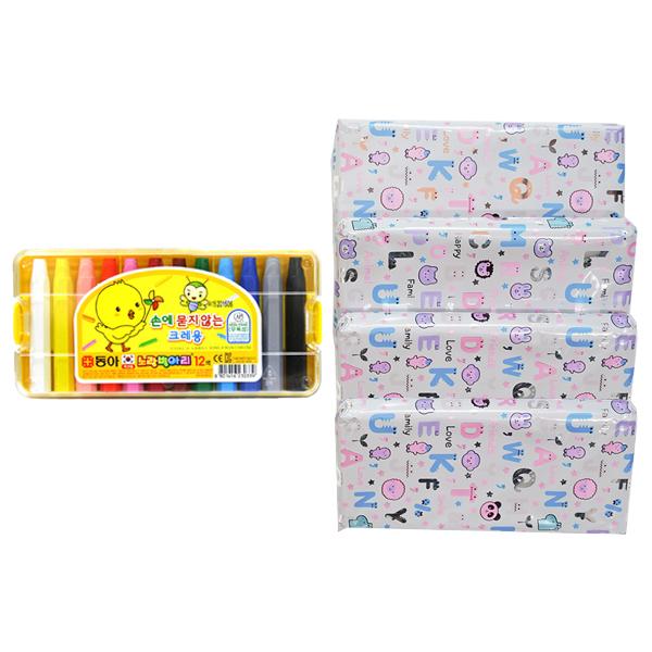 동아 노랑병아리 12색 크레용 4p + 선물포장 + 메세지 라벨지 4p