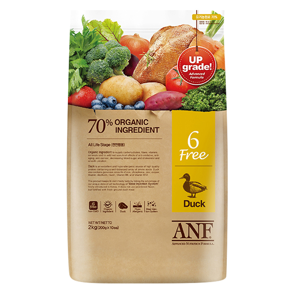 ANF 유기농 6Free 오리 전연령 애견사료, 2kg, 1개