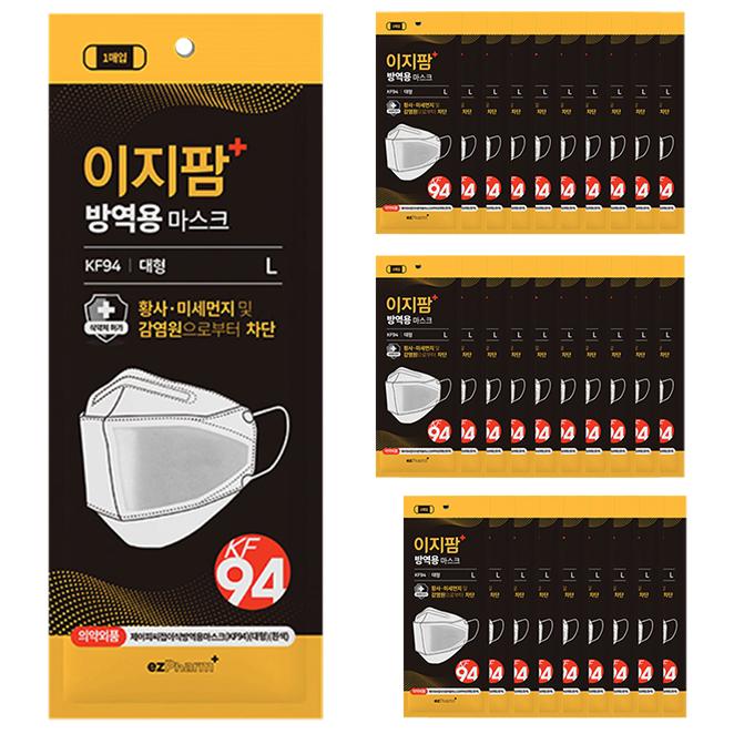 이지팜 황사 미세먼지 방역용 마스크 대형 KF94 흰색, 1개입, 30개