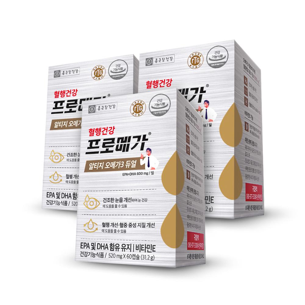 종근당건강 알티지 오메가3 듀얼 영양제, 60정, 3개