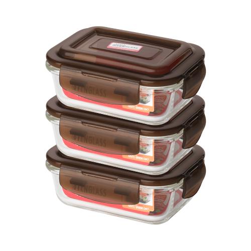 아이에코리아 수퍼 오븐글라스 직사각 내열유리 밀폐용기 1040ml, 3개입, 용기