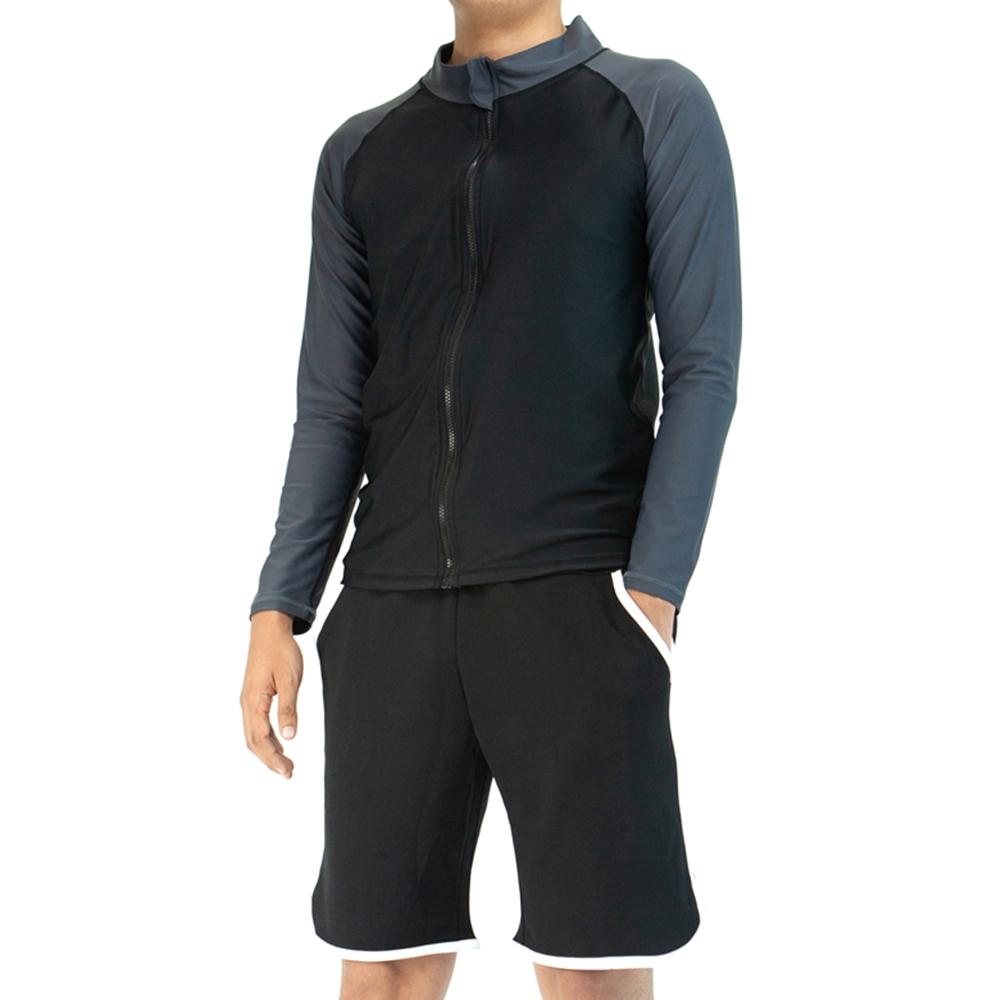 쿠팡 브랜드 - 베이스알파 에센셜 남성용 상하의 래쉬가드 세트 자외선 차단 집업 상의 + 트렁크 반바지